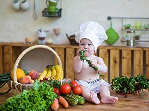 Картинка Овощи Фрукты Томаты Младенца Шапка Повары