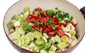 Фото Овощи Сковороде Нарезанные продукты Еда