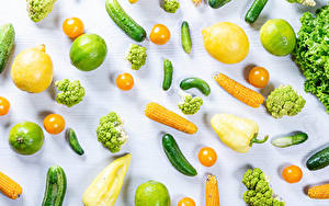 Картинки Овощи Лимоны Кукуруза Лайм Огурцы Помидоры Перец Брокколи Белый фон Пища