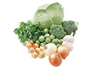 Фотографии Овощи Лук репчатый Чеснок Капуста Белый фон Пища