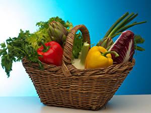 Картинки Овощи Перец Корзины Продукты питания