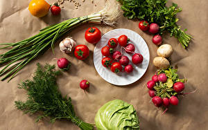 Картинка Овощи Редис Укроп Капуста Томаты Картошка Тарелке Пища