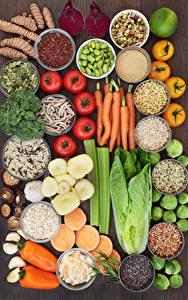 Картинка Овощи Пряности Томаты Перец Морковь Продукты питания