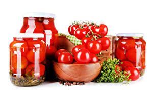 Обои Овощи Томаты Укроп Банки Продукты питания