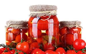 Фотография Овощи Помидоры Банки Еда