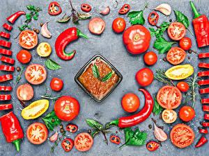 Фотография Овощи Томаты Перец Острый перец чили Дизайн Кетчупа Продукты питания