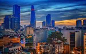 Картинка Вьетнам Здания Вечер Saigon