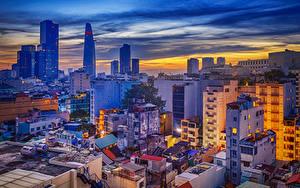 Картинка Вьетнам Дома Вечер Крыша Saigon