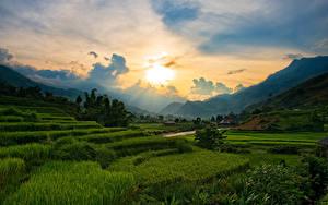 Картинки Вьетнам Горы Вечер Рассвет и закат Поля Облако Sapa