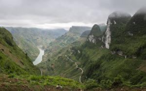 Картинка Вьетнам Гора Реки Каньон Мха Тропа Ha Giang Природа