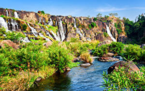 Фото Вьетнам Парки Водопады Камни Ручей Природа