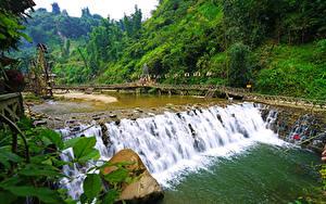 Обои Вьетнам Речка Мосты Водопады Cat Cat river Sapa Природа