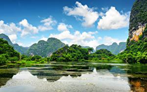 Фото Вьетнам Речка Пейзаж Горы Облако Скалы Ninh Binh Province Природа