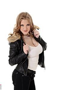 Фотография Viola O Bailey Virtuagirlhd Русых Взгляд Белым фоном Декольте Руки Куртка молодые женщины