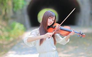 Картинка Скрипка Азиатки Шатенки девушка