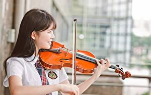 Обои Скрипка Азиаты Шатенки Девушки