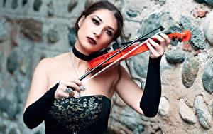 Картинки Скрипки Готика Фэнтези Платья Боке Брюнетка Рука Mary молодая женщина