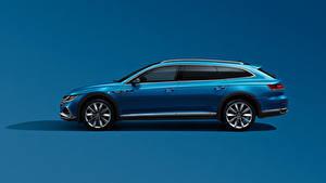 Фотографии Volkswagen Сбоку Синий Металлик Цветной фон Универсал CC Shooting Brake 380 TSI, China, 2020 Автомобили