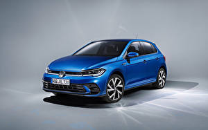 Фото Фольксваген Синих Металлик Polo R-Line, Worldwide, (Typ AW), 2021 Автомобили