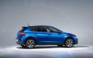 Картинка Фольксваген Синий Металлик Сбоку Polo R-Line, Worldwide, (Typ AW), 2021 авто
