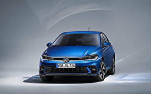 Фото Volkswagen Синий Металлик Спереди Polo R-Line, Worldwide, (Typ AW), 2021 машины