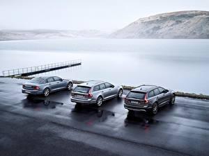 Картинки Вольво Универсал 2017 Silver S90 V90 Cross Country машины