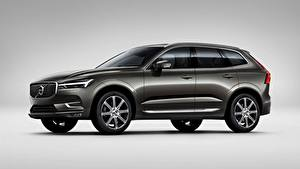 Обои Volvo Сером фоне Серый CUV Сбоку XC60, T6, Inscription, 2017 Автомобили