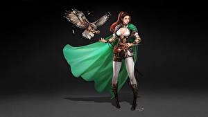 Картинки Воины Птица Красивая Вырез на платье Плаще Vagabond, Donghyun Ha Фантастика Девушки