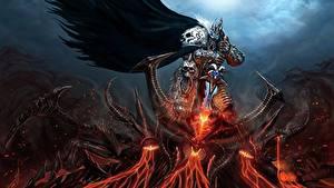 Картинка Воители Демон Битвы Diablo World of WarCraft Меч Броне lich king Игры Фэнтези
