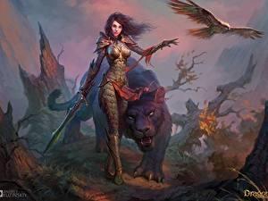 Картинка Воители Волшебные животные Драконы вечности Мечи Доспехи компьютерная игра Фэнтези Девушки