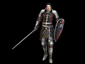 Фотографии Воины Мужчины Bladestorm Мечи Щит Черный фон Nightmare, Magnus (Mercenary) Игры Фэнтези 3D_Графика