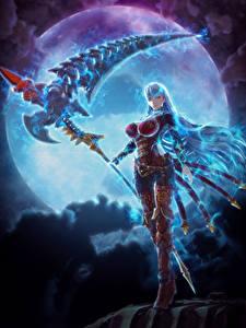 Картинки Воины Ночные Луны Коса (оружие) Valkyria: Azure Revolution Игры Девушки Фэнтези