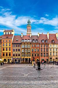 Фотографии Варшава Польша Дома Городской площади