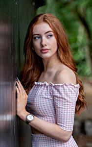 Картинка Наручные часы Рыжие Взгляд Руки Emilia девушка