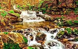 Картинка Водопады Осенние Камни Ручей Природа