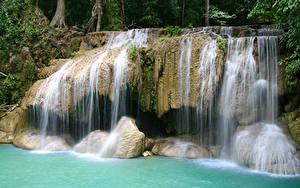 Картинки Водопады Утес Природа