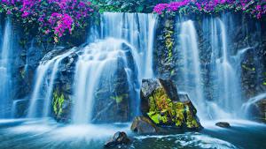Фото Водопады Скала Мох Природа