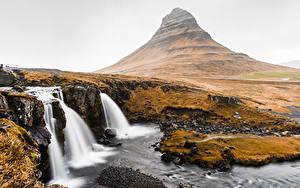 Фотографии Водопады Гора Исландия Kirkjufell