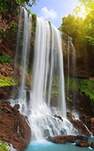 Фотография Водопады Камень Скале Природа