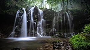 Обои для рабочего стола Водопады Камень Трава Мха Природа