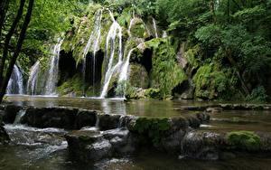 Обои Водопады Камень Парк Грузия Скала Мхом Mtirala national Park, Autonomous Republic Of Adjara Природа