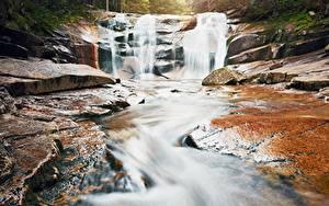 Обои Водопады Камни Ручей Природа