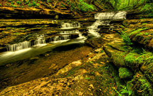 Фото Водопады США Ручей Meadow Creek Cascades Wayne County Kentucky Природа