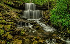 Обои Водопады Штаты Ручей West Milton Природа