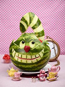 Фотография Арбузы Кот Чайник Дизайна Чашка Cheshire Cat Еда