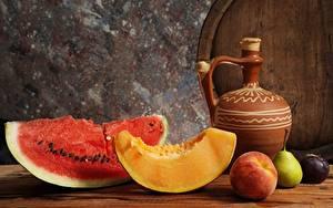 Фотография Арбузы Дыни Натюрморт Кусочки Кувшины Продукты питания
