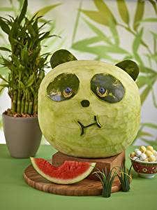 Фотография Арбузы Бамбуковый медведь Дизайна Пища