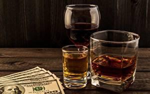 Фотографии Виски Алкогольные напитки Доллары Купюры Стакан Рюмки 100 Пища
