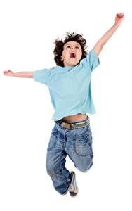 Картинки Белом фоне Мальчики Прыгать Руки Радостный Дети