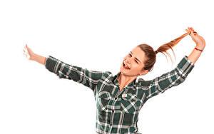 Фотографии Белый фон Шатенка Радость Рука Рубашки молодая женщина